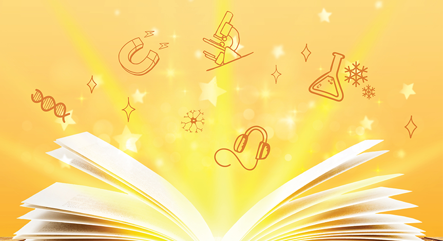 Open book with a yellow light pouring out and science icons in the background